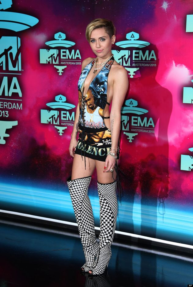Miley Cyrus MTV EMAs 2013: Biggie Smalls, Tupac Dress Is Her Most Revealing Yet