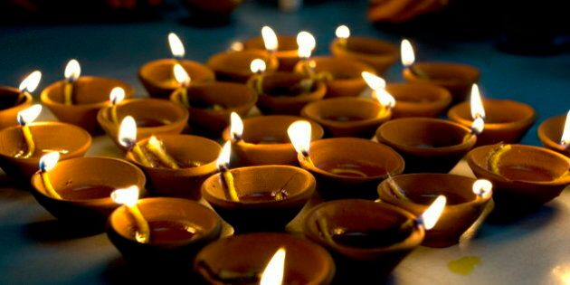 Deepak lights (oil and cotton wick candles) lit for domestic decoration to celebrate the Diwali festival,