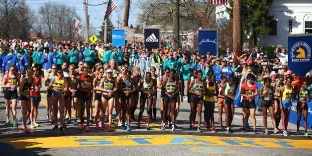 HOPKINTON, MA - APRIL 18:  The Elite Women's division prepares to start the 120th Boston Marathon on April 18, 2016 in Hopkinton, Massachusetts.  (Photo by Tim Bradbury/Getty Images)
