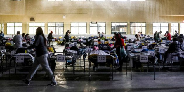 Evacuees from the Fort McMurray wildfires use the sleeping room at the