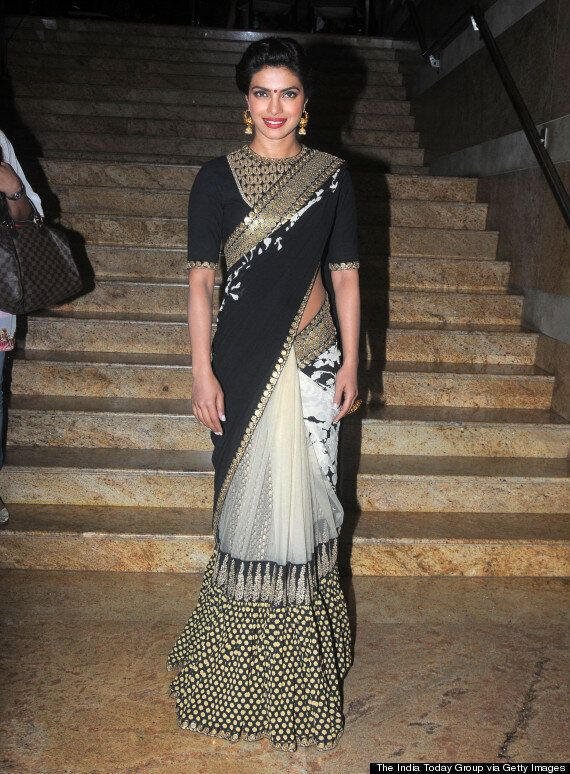 Priyanka Chopra Goes Bollywood Glam In Black And Gold Saree