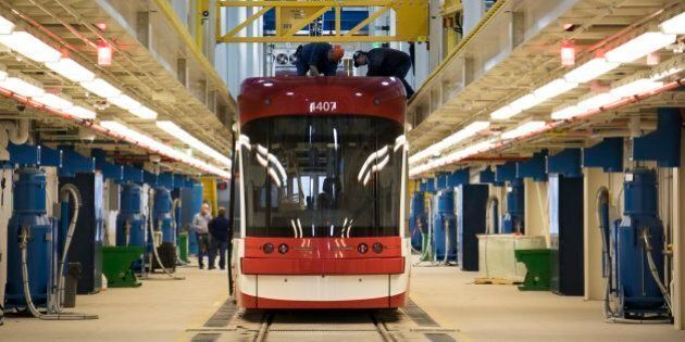 TORONTO, ON - APRIL 6: A new Bombardier streetcar in a service bay during a tour of the new TTC Leslieville...