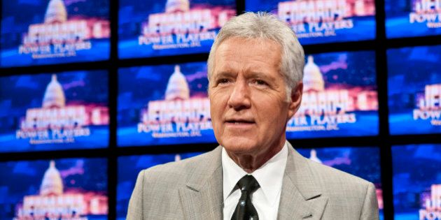WASHINGTON, DC - APRIL 21: Alex Trebek speaks during a rehearsal before a taping of Jeopardy! Power Players...