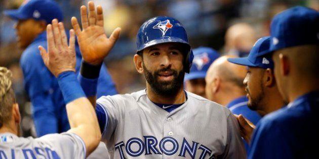Apr 7, 2017; St. Petersburg, FL, USA; Toronto Blue Jays right fielder Jose Bautista (19) celebrates with...