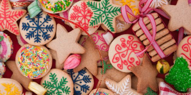 Mixed Christmas cookies /// Colorful mix of Christmas-themed decorated cookies