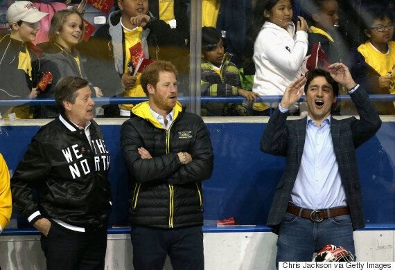 Justin Trudeau Shows Prince Harry How Canadians Behave In A Hockey