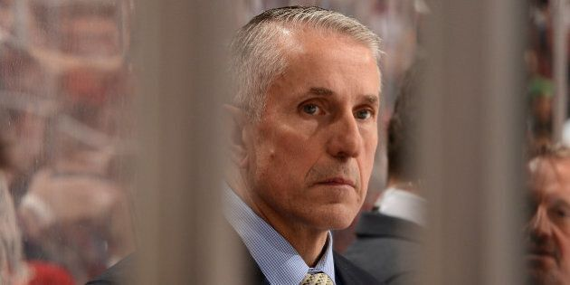 GLENDALE, AZ - MARCH 28: Head coach Bob Hartley of the Calgary Flames looks on from the bench against...