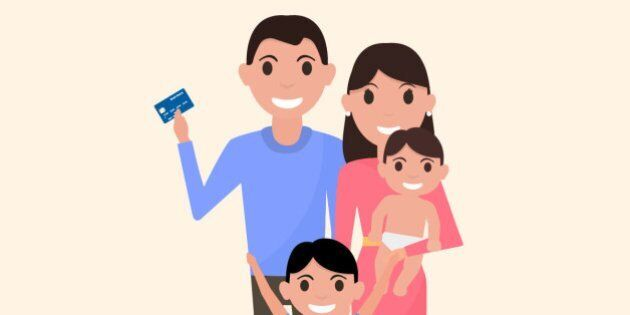 Vector illustration of a cartoon happy family with a plastic credit card. Drawing picture for banks,...