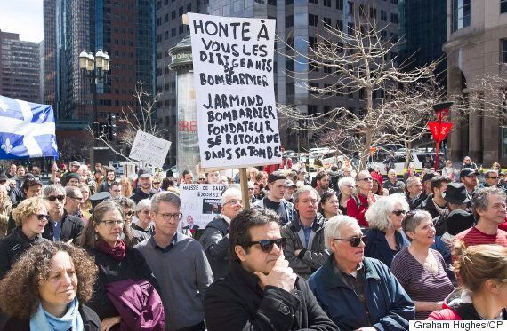 Bombardier Protesters March Outside Quebec Premier's