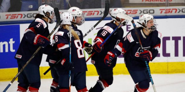 PLYMOUTH, MI - APRIL 06: Haley Skarupa #11 of the United States celebrates her third-period goal with...