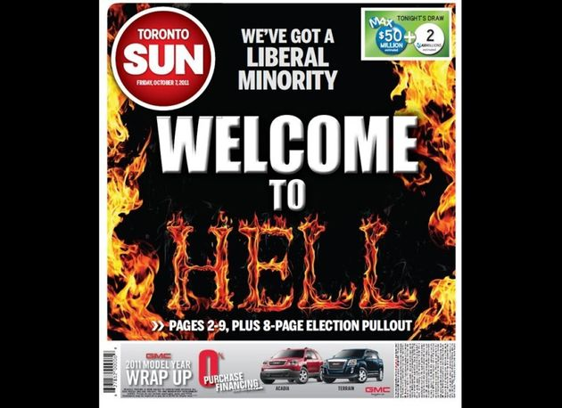 Toronto Sun's Ontario Election Front Page Is Just As Ridiculous As You Would
