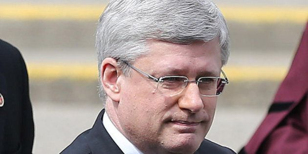 TORONTO, ON- APRIL 16 - Prime Minister Stephen Harper at the state funeral for former federal and provincial...