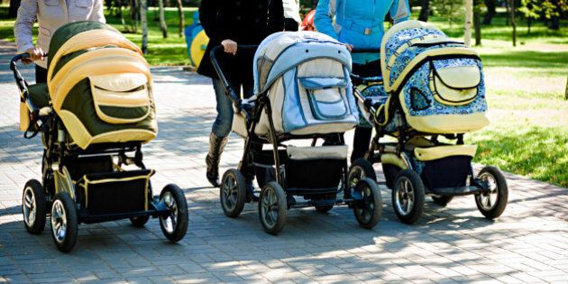 three baby carriage in