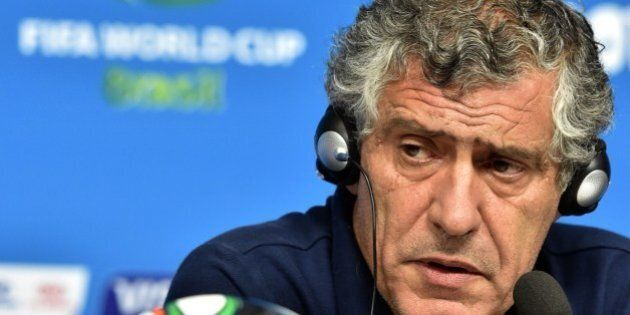 Greece's Portuguese coach Fernando Santos speaks during a press conference at the Pernambuco Arena in...