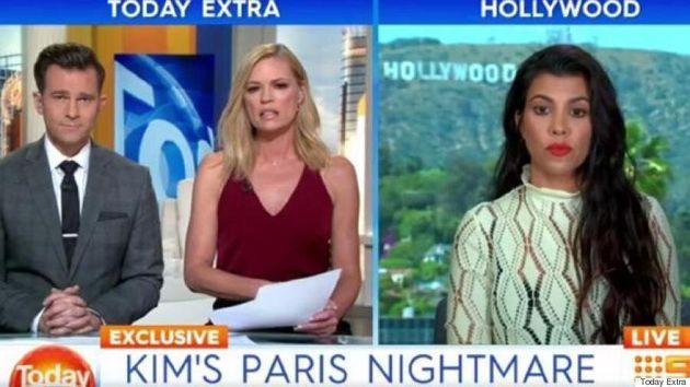 Kourtney Kardashian Awkwardly 'Freezes' On Live TV When Asked About Kim