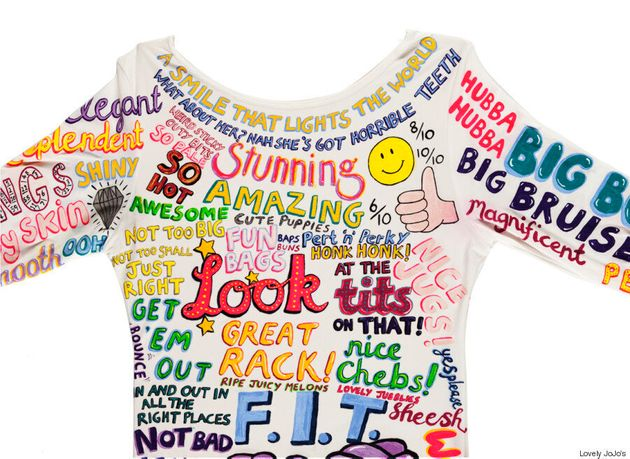 Artist JoJo Oldham Creates Dress Covered In The Things People Have Said About Her