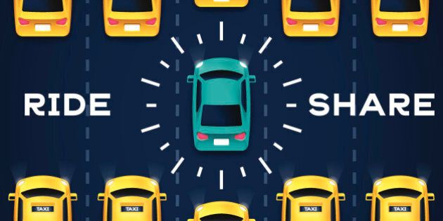 Crowdsourced transportation services and private taxi driving concept. EPS 10 file. Transparency effects...