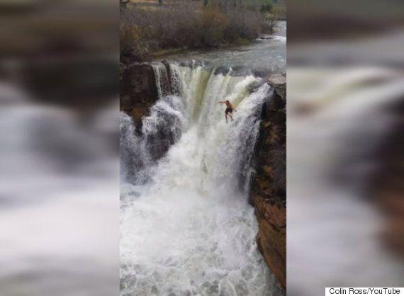 Lundbreck Falls Cliff Jump Caught On
