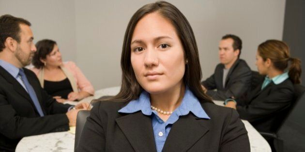 Businesswoman with arms