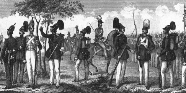 Engraved Illustrations of Prussian and French Infantry Ranks and Uniforms from Iconographic Encyclopedia...