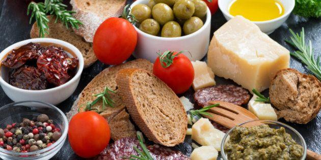 assortment of delicious antipasti,