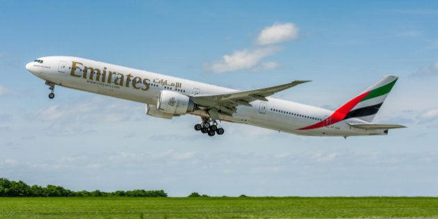 Prague, Czech Republic - May 17, 2015: Boeing 777 of Emirates Airlines. Image was taken at Vaclav Havel