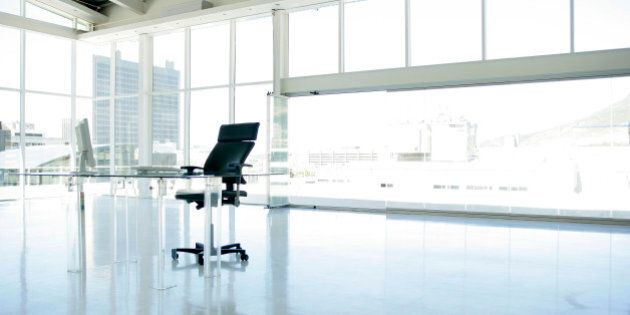 Spacious office with large windows