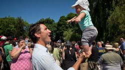 Trudeau Balances Son On One