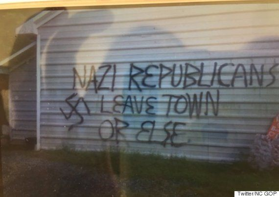 Republican Office Firebombed, Painted With