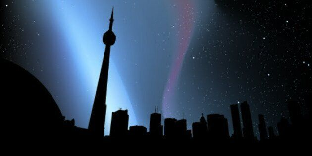 Skyline silhouette of downtown Toronto, Canada, at