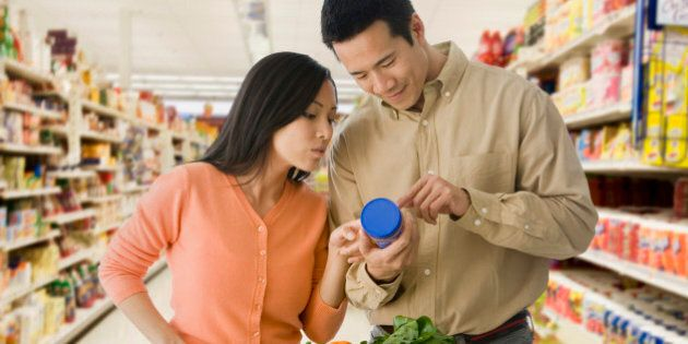 Asian couple grocery