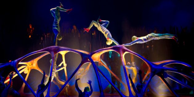 Members of the Canadian performance group, Cirque Du Soleil perform Totem at the Royal Albert Hall, London,...
