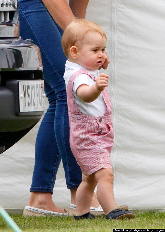 Kate Middleton, Duchess Of Cambridge, Casual In Stripes With Prince George