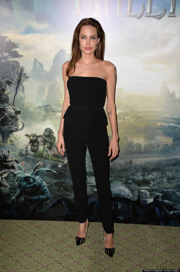 Only Angelina Jolie Can Make A Plain Black Pantsuit Look This