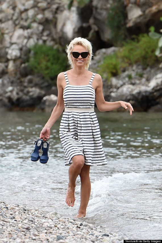 Pamela Anderson Day And Night Outfits In Italy