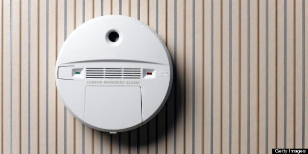 smoke detector and carbon monoxide alarm mounted on