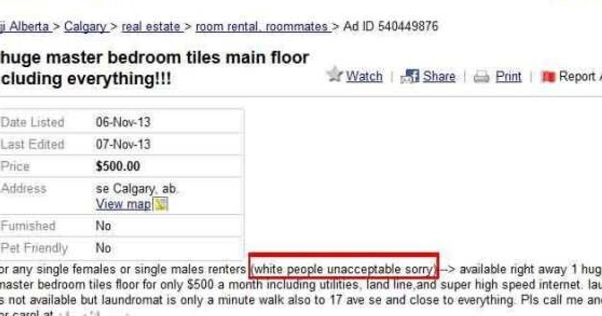 Racist Kijiji Ad In Calgary Leads To Anger And Humour Online