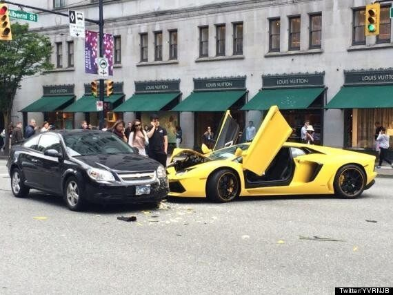 OUCH! Lamborghini Crashes In Downtown