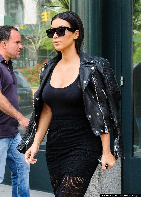 Kim Kardashian Airport Outfit Features A $2,000 Burberry Biker Jacket