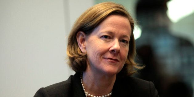 Alison Redford, premier of Canada's Alberta province, listens during an interview in New York, U.S.,...