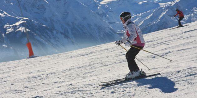 Skier on the slope ski resort Zell am See,
