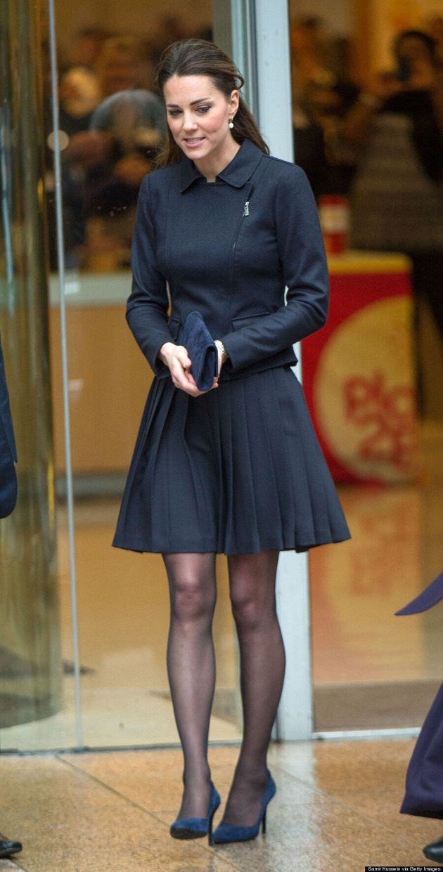 Duchess Of Cambridge Struggles To Keep Skirt From Flying Up