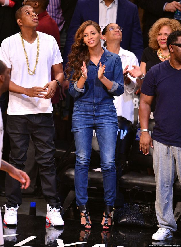 Beyonce Is Carefree In Canadian Tuxedo At Nets Game With Jay