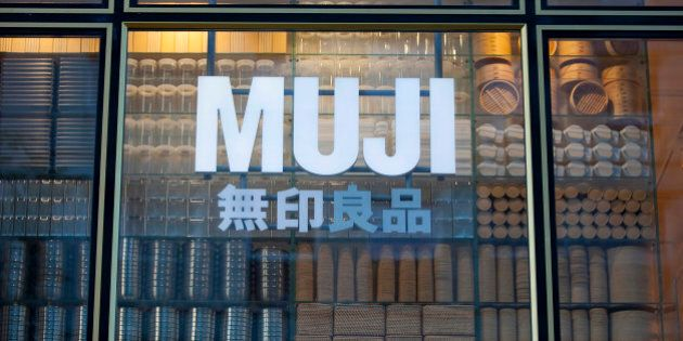 Kitchen ware is seen in the window display of a store operated by Muji Corp. in Frankfurt, Germany, on...