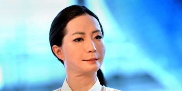 The new humanoid robot named 'Otonaroid' is pictured during a press preview at the National Museum of...