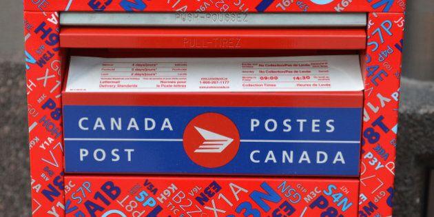TORONTO, ON - APRIL 20: A Canada Post Mail box. (Carlos Osorio/Toronto Star via Getty