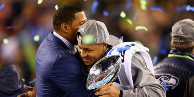 EAST RUTHERFORD, NJ - FEBRUARY 02: Outside linebacker and Super Bowl MVP Malcolm Smith #53 of the Seattle...