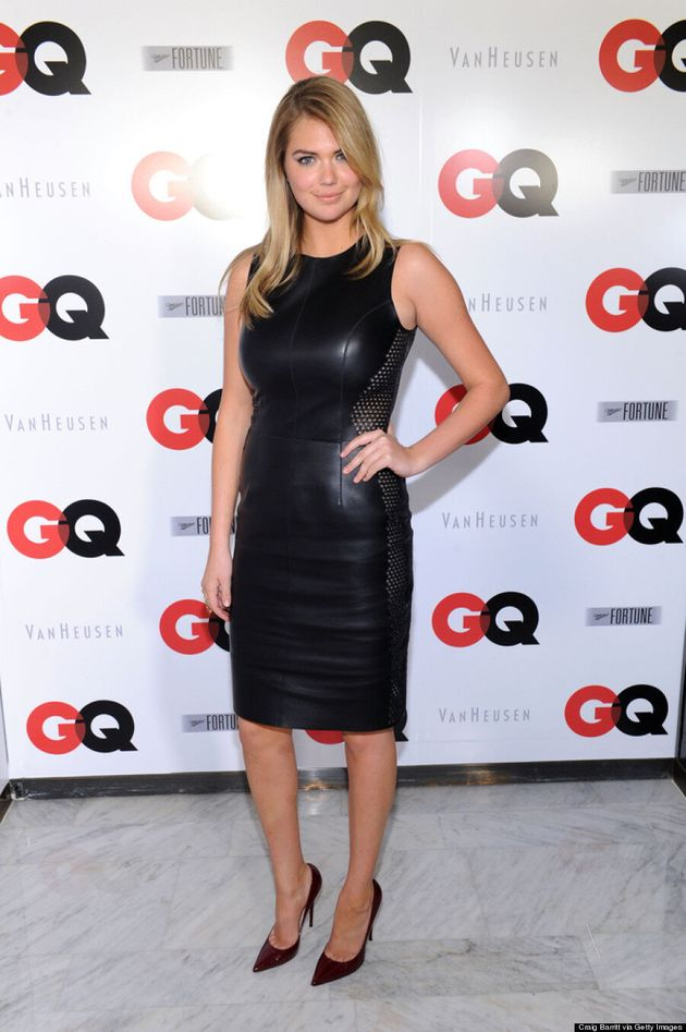Kate Upton Goes Sexy In Leather Dress At GQ Super Bowl Party (VIDEO,