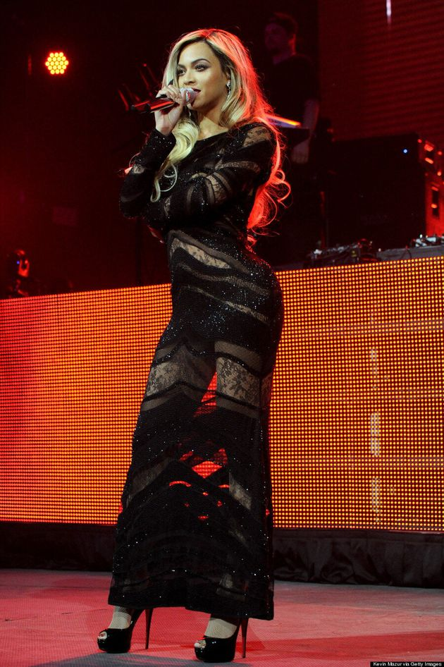 Beyonce Rocks Super Sheer Dress At Super Bowl Party