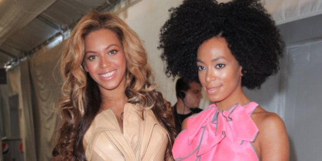 NEW YORK, NY - SEPTEMBER 13: Beyonce Knowles and Solange Knowles are seen around Lincoln Center during Spring 2012 Mercedes-Benz Fashion Week on September 13, 2011 in New York City. (Photo by John Parra/WireImage)